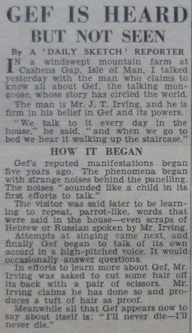 GEF DAILY SKETCH, samedi 7 novembre 1936