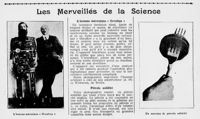 HOMME MECANIQUE Journal du dimanche n°128 14:5:1911
