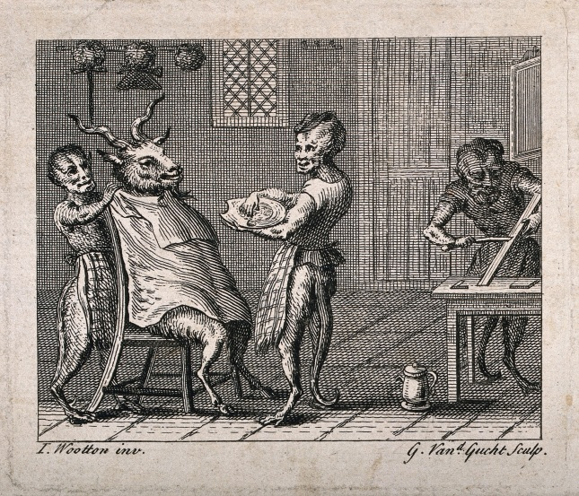 V0019695 Half-human, half-monkey barbers shaving a goat. Engraving by Credit: Wellcome Library, London. Wellcome Images images@wellcome.ac.uk http://wellcomeimages.org Half-human, half-monkey barbers shaving a goat. Engraving by G. van der Gucht after J. Wootton. By: John Woottonafter: Gerard van der GuchtPublished:  -  Copyrighted work available under Creative Commons Attribution only licence CC BY 4.0 http://creativecommons.org/licenses/by/4.0/
