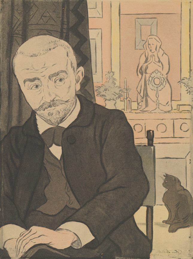 Eugène Delâtre (French, 1864–1938) Portrait of Huysmans (from L'Estampe originale, Album VI), 1894 French,  Etching and aquatint, in three colors; Plate: 12 3/4 × 9 1/2 in. (32.4 × 24.1 cm) Sheet: 23 1/2 × 16 3/4 in. (59.7 × 42.5 cm) The Metropolitan Museum of Art, New York, Rogers Fund, 1922 (22.82.1-51) http://www.metmuseum.org/Collections/search-the-collections/633572