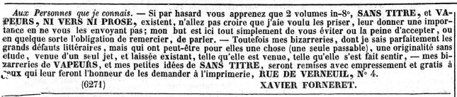 FORNERET ANNONCE JOURNAL DES EBATS 1838