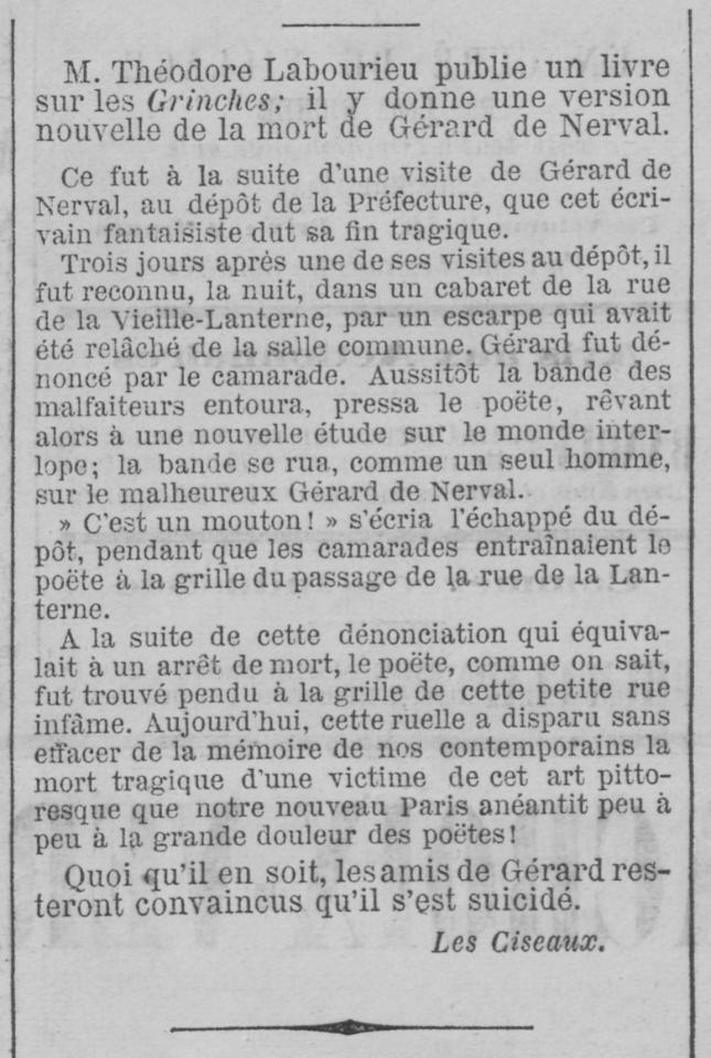 MORT DE NERVAL LE RAPPEL 1869