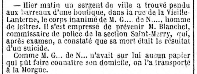 MORT NERVAL JOURNAL DES DEBATS 1855