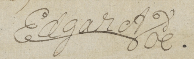 MA 644.2, Poe, Edgar Allan, 1809-1849.  Promissory note signed : New York, 1849 Feb. 3., p. 1 detail of signature