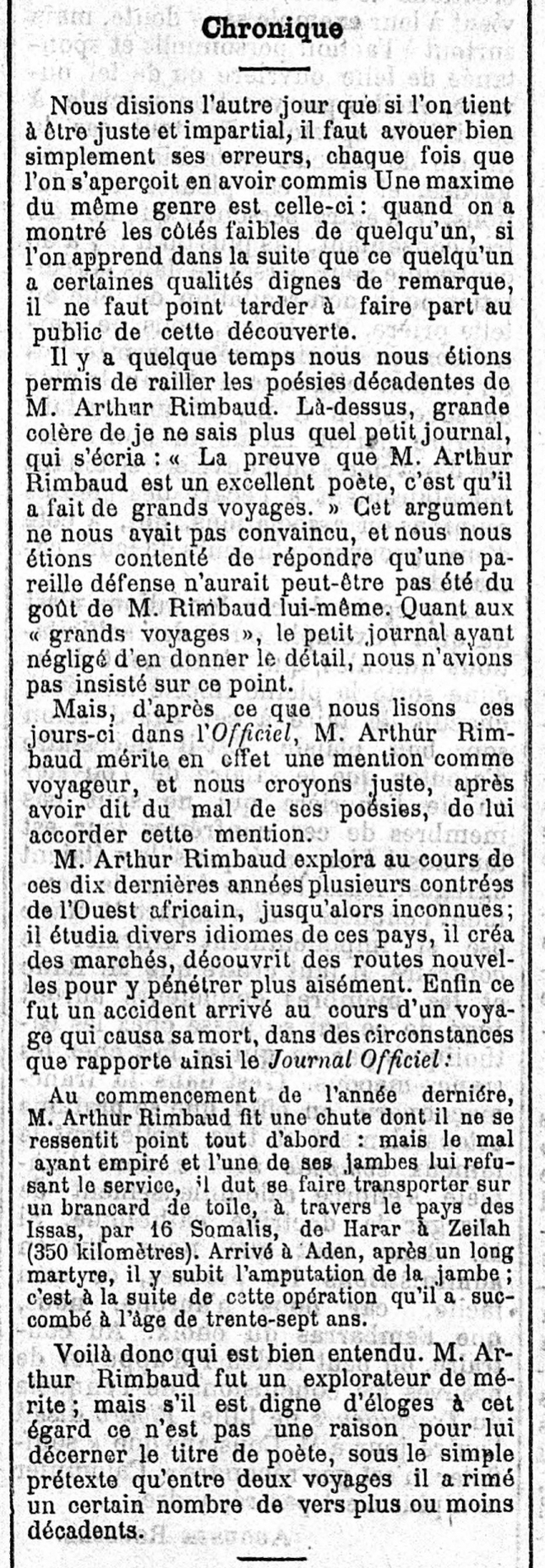 MORT RIMBAUD UNIVERS 8778 31 1 92